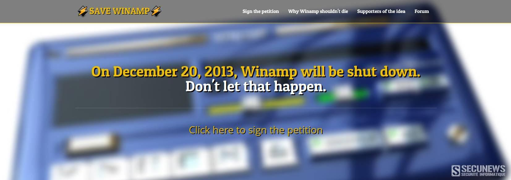 Pétition contre la mort de Winamp
