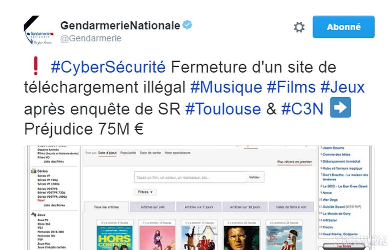 (MAJ3) La gendarmerie nationale ferme le site Zone téléchargement